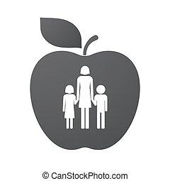 familia, manzana, padre, Pictogram, aislado, solo, fruta,...