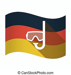 Isolated Germany flag with a diving goggles