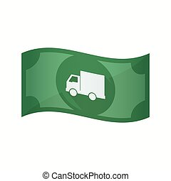 Isolated bank note with a delivery truck - Illustration of...