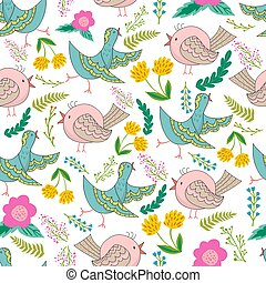 Vector seamless pattern of birds and flowers in cartoonish...
