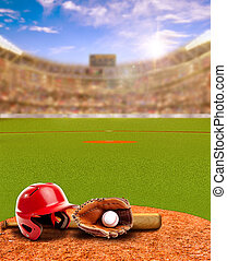 Sunset on Baseball Stadium With Equipment and Copy Space -...
