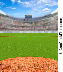 Fictitious Baseball Stadium With Copy Space - Fictitious...
