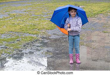 女の子, 傘, 遊び, 雨
