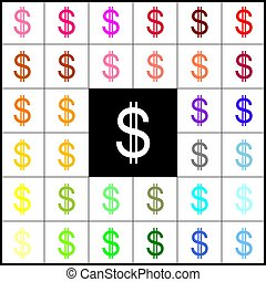 United states Dollar sign. Vector. Felt-pen 33 colorful icons at white and black backgrounds. Colorfull.