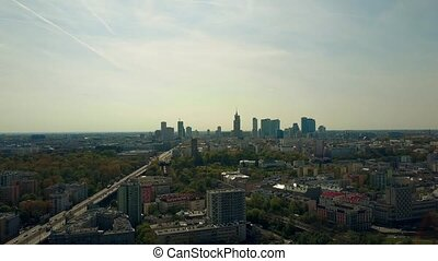 Aerial of Warsaw downtown skyline, Poland.