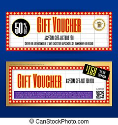 Movie ticket sign theme gift voucher or gift coupon template...