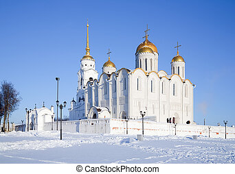 Dormition cathedral at Vladimir in winter, Russia