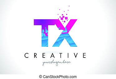 TX T X Letter Logo with Shattered Broken Blue Pink Texture...