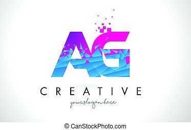AG A G Letter Logo with Shattered Broken Blue Pink Texture...