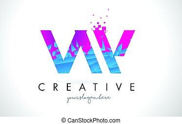 VW V W Letter Logo with Shattered Broken Blue Pink Texture...