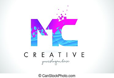 MC M C Letter Logo with Shattered Broken Blue Pink Texture...