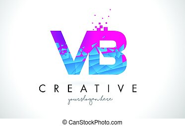 VB V B Letter Logo with Shattered Broken Blue Pink Texture...