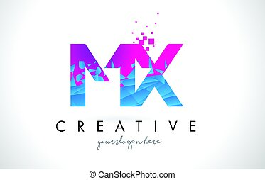 MX M X Letter Logo with Shattered Broken Blue Pink Texture...