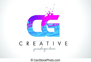 CG C G Letter Logo with Shattered Broken Blue Pink Texture...