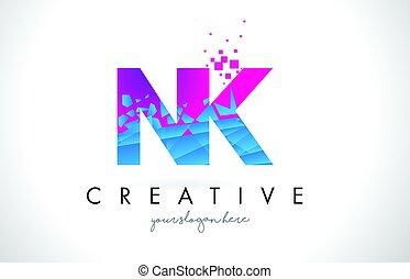 NK N K Letter Logo with Shattered Broken Blue Pink Texture...