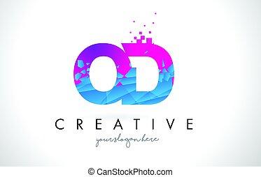 OD O D Letter Logo with Shattered Broken Blue Pink Texture...
