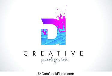 DI D I Letter Logo with Shattered Broken Blue Pink Texture...