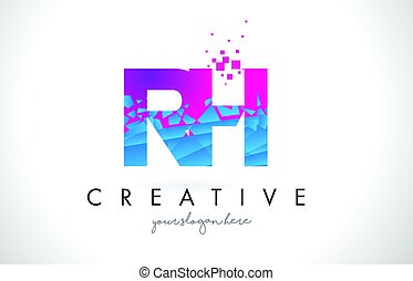 RH R H Letter Logo with Shattered Broken Blue Pink Texture...