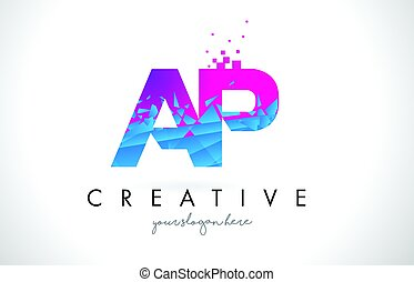 AP A P Letter Logo with Shattered Broken Blue Pink Texture...