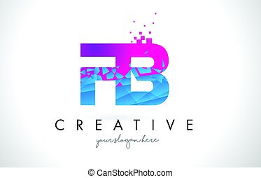 FB F B Letter Logo with Shattered Broken Blue Pink Texture...