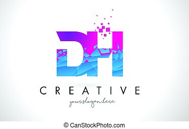 DH D H Letter Logo with Shattered Broken Blue Pink Texture...