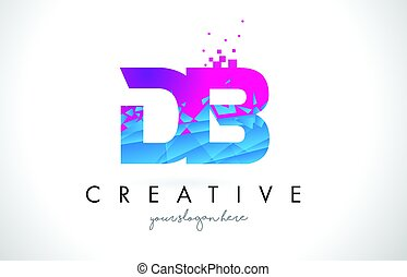DB D B Letter Logo with Shattered Broken Blue Pink Texture...