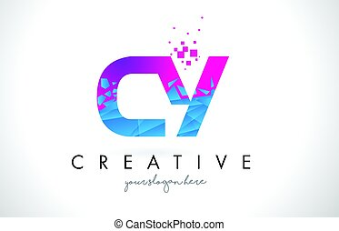 CY C Y Letter Logo with Shattered Broken Blue Pink Texture...