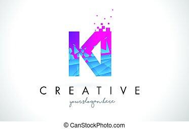 KI K I Letter Logo with Shattered Broken Blue Pink Texture...