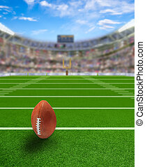 Football Stadium With Ball on Field and Copy Space