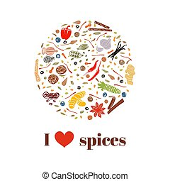 Cooking spices on bauble shape. Images - Cooking spices set...