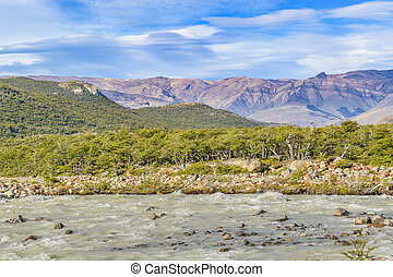 Patagonia Landscape River Scene, El Chalten, Argentina -...