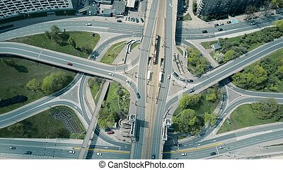 Aerial of big urban road junction, top down view - Aerial...