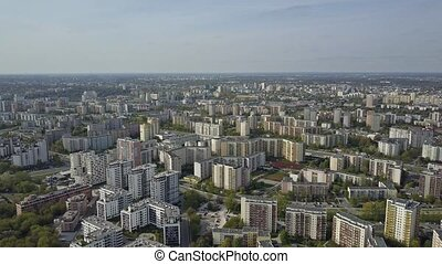 Aerial of typical Eastern European residential area. Warsaw,...