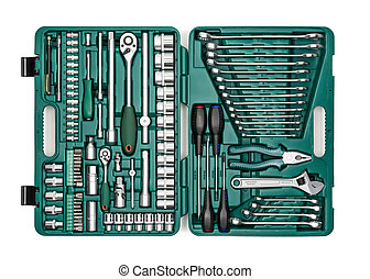 Set of hand tools. Many wrench and tools close-up in box for...