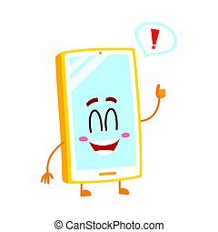 Funny cartoon mobile phone, smartphone character showing thumb up