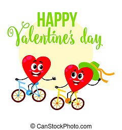 Valentine day greeting card design with heart characters...