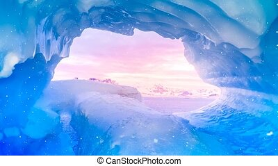 Blue ice cave window view in Antarctica flooded with soft...