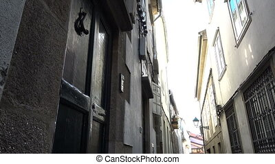 Small alley in Santiago de Compostela, Spain, culmination of...