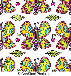 Seamless summer pattern with butterfly. Vector Background