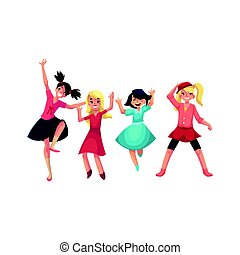 Four girls in colorful clothes having fun, dancing at party...