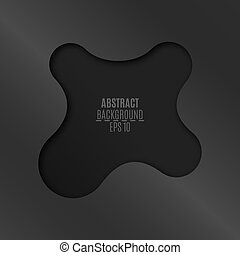 Abstract background in metaball style. An empty space for your web, business projects. Empty banner with a cut of dark gray on a black background. Vector illustration