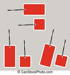 red tag on gray background vector