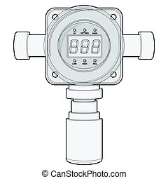 Vector gas detector. Outlined gas meter with digital LCD...