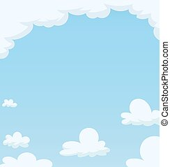 Blue Sky with cloud. Cartoon background. Vector...