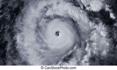 Hurricane storm tornado over the Earth from space, satellite...
