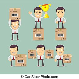 Set of delivery service man with box