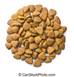 Dry kibble dog food. - Dry kibble dog food isolated on white...