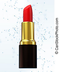 Red lipstick isolated on white. 3d rendering