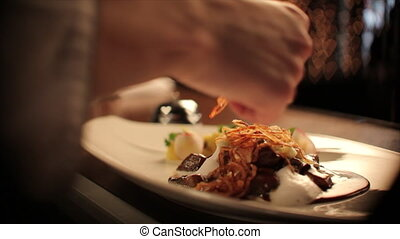 Chef getting a meat dish ready - Close up of chef hand...