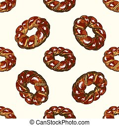 Bagel full color seamless pattern, hand drawn vector...